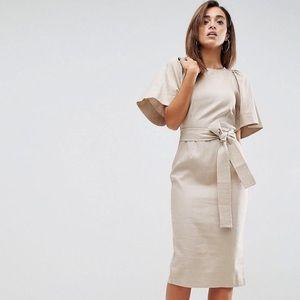 ASOS NWOT Linen Shoulder Detail Dress w Obi Belt